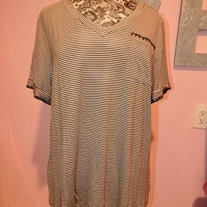 Skies Are Blue Green And White Striped Top Size 1X
